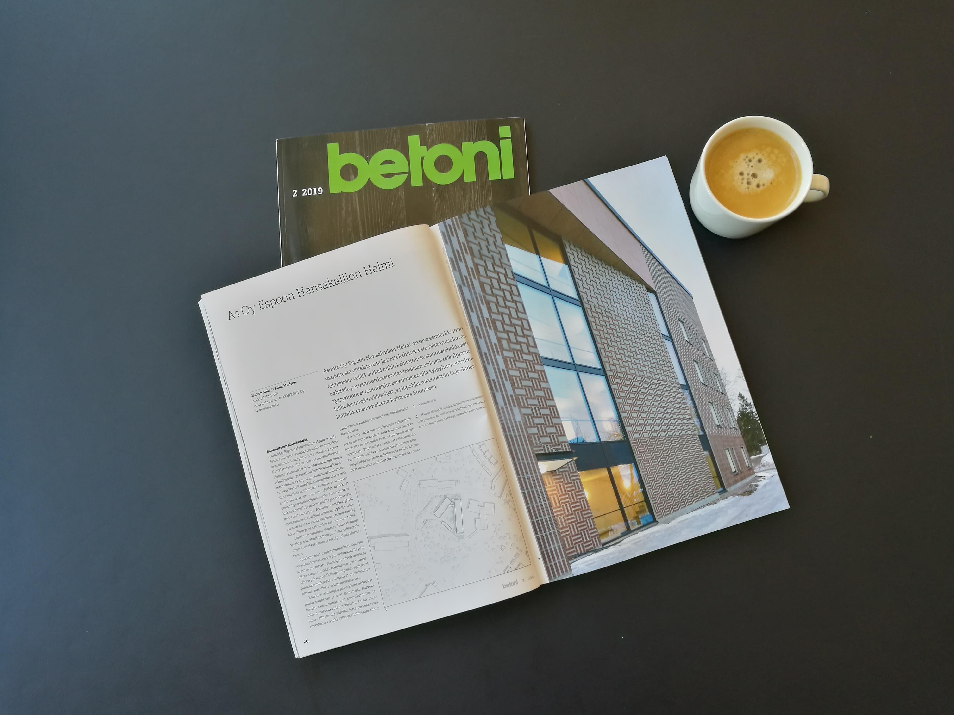 Konkret ja Hansakallion Helmi Betoni-lehdessä